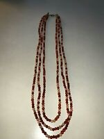 Vintage Matinee AU NATURAL 3 Wood Tones Beaded 3 Long Strand Necklace ❤️tw11j
