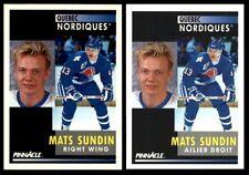 1991-92 PINNACLE #10 MATS SUNDIN | LOT x2 | FRENCH & ENGLISH | Quebec nordiques