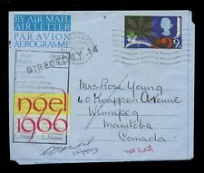 GB QE2 1966 AIRLETTER 9d to CANADA RETURNED DIRECTORY 14 HANDSTAMP