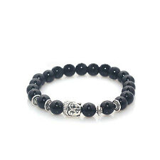 Buddha Charm Silver Bracelet Glossy Black Stone by Maya Bracelets NEW W/ Bag!