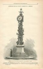 l'Horloge en Fer de la Place Gambetta à Amiens GRAVURE ANTIQUE OLD PRINT 1897