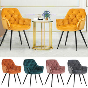 1/2/4/ Dining Chairs Set Velvet Padded Seat Metal Legs Kitchen Chair Home Office