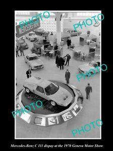 OLD POSTCARD SIZE PHOTO OF MERCEDES BENZ C 111 1970 GENEVA MOTOR SHOW DISPLAY