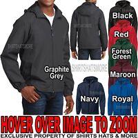 Mens Hooded Zip Front Jacket Pockets Windbreaker Water Resistant XS-XL 2X 3X 4X