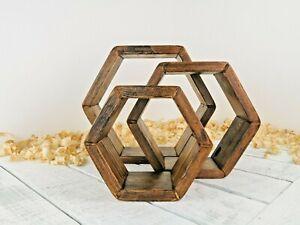 Wooden Hexagon Shelves Wall Shelves Display Shelves Dark Oak Wax Finish Handmade