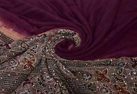 Vintage Púrpura Saree Puro Crepe Seda Mano con Cuentas Bordado Tela Étnicos Sari
