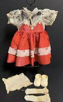Vintage Baby Doll Dress,Socks, Shoes, Underwear ~Red & Sheer~DAMAGED