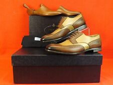 NIB PRADA BROWN NUDE PEWTER GLAZED TOOLED LEATHER LACE UP OXFORDS 10 11 $1100