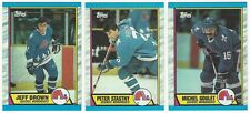 11 1989-90 TOPPS HOCKEY QUEBEC NORDIQUES CARDS (BROWN x4/STASTNY x3+++)