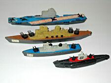 "4 Vintage Tootsietoy Boats Ships Carrir Battleship Cruiser Sub Die Cast 5""-8"""