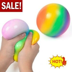 Rainbow Ball Stress Ball Squeeze Relief Novelty Squishy Soft Funny Joke Toy AU