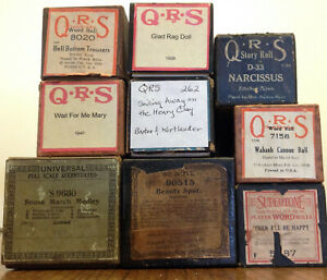 9 vintage Player Piano Rolls in good condition with minor wear