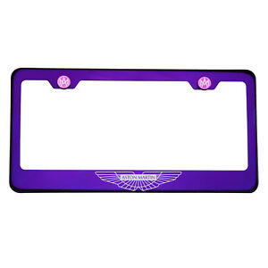 Purple Chrome Laser Etched Aston Martin Logo License Frame T304 Stainless Steel