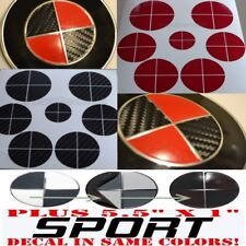 CARBON FIBER BLACK & RED Sticker Overlay +SPORT FULL SET Fit All BMW Emblems