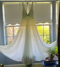 Vintage 60's/70s Nylon Pale Blue Deep Plunge Long Nightgown 100� Sweep Goddess M