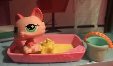 Littlest Pet Shop Pink Crouching  Kitty Cat W/ Accessories Rare Lps  Hasbro