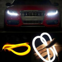 2PCS 60cm Car Turn Signal LED Strips Tube Switchback White/Amber Flexible