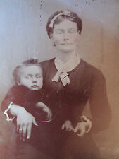 ANTIQUE AMERICAN BEAUTY ANGEL BABY MOTHER GRIN HIDDEN SMILE OLD TINTYPE PHOTO