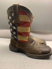 """Durango RD4414 10"""" Lady Rebel American Flag USA Cowgirl Western Boots Size 6"""