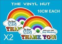 Rainbow Window Sticker X2, 10CM Thank You NHS & Home Decal weatherproof