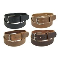 "Genuine Buffalo Leather Belt_1 1/2"" wide_Amish Handmade_Nickel Finish Buckle_142"