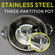 Stainless Steel Hot Pot Shabu Three Partition Hot Pot with Lid, 32cm