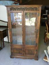 Old Charm Oak Glazed Display Cabinet with Lights