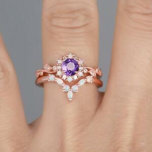 1.5 CT Round Natural Amethyst And Opal Ring Set,14k Solid Gold Wedding ring