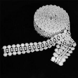 5Yards 27Mm Crystal Rhinestone Mesh Wrap Roll Ribbon Wedding Bling Diy Decor