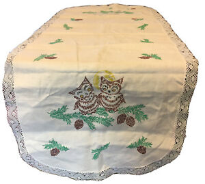 """VTG Owls Under the Moon Table Runner 15"""" X 41"""" Harvest Fall Lace Trim Doily"""