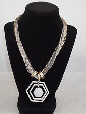 Kenneth Cole CHAIN REACTION Tri Tone Geometric Orbital Pendant Necklace $52