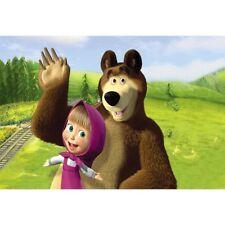 8x6ft Vinyl Cartoon Masha Bear Lawn Photo Studio Backdrop Background