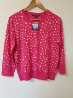 Pink Polka Dot 50s Retro Style Cardigan Top Size M 12 14