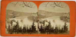 Suisse, Chutes du Rhin et Château de Laufen Vintage stereo card,  Tirage alb