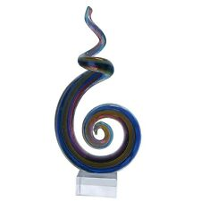 New Coloured Glass Abstract Sculpture Psychedelic Flame Blue Multi 13x8x26 cm