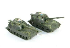 "Vintage 2 Hard Plastic Toy Military USA Tanks Moving Turret on Wheels 4"""