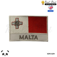 MALTA National Flag With Name Embroidered Iron On Sew On Patch Badge