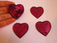 20 parches de Corazón Rosa Lentejuelas Apliques De Hierro En Parche Sew Motif insignia de costura UK