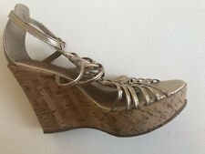 MODA IN PELLE GOLD LEATHER STRAPPY WEDGES SANDALS SHOES SIZE 6 EU39 US8