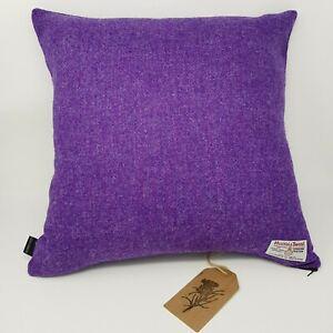 PURPLE Plain Wool genuine Harris Tweed handmade cushion cover all sizes