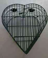Vintage Primitive Shabby Chic Green Wire Decorative Heart-Shaped Bird Cage
