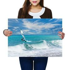 A2 | Wind Surfing Waves Sea Ocean - Size A2 Poster Print Photo Art Gift #8149