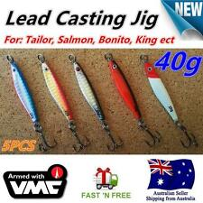 5X 40g Lead Casting Jig Slice spoon Fishing Lures VMC Hook Tailor Salmon Bonito