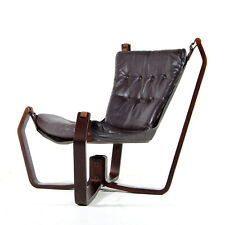 Retro Vintage Leather Falcon Lounge Chair Armchair Sigurd Ressell Style Danish