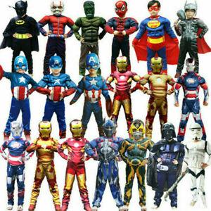 Boys Superhero Costume Marvel Avengers Cosplay Halloween Children Fancy Dress ++
