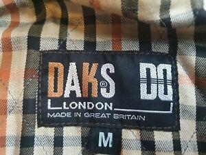 DAKS LONDON  Vintage  Green Wax Jacket Coat With AQUASCUTUM CHECK LINING Size M