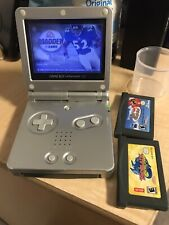 Nintendo GameBoy Advance SP AGS-001 Silver Handheld System With 3 Games.