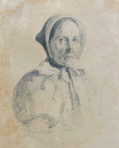 Herman Siegumfeldt, drawing. A peasant woman with a bonnent 1862