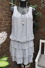 Kleid Strand Trägerkleid Sommer Hippie Ibiza Grau Volant Süß 36-38 Lagenlock