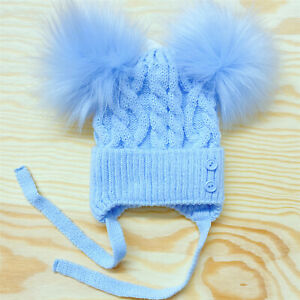 New Arrival Gorgeous Blue/Grey Baby Boy Double Fur Pom Hat with Buttons Cotton